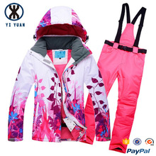 Two pieces durable ladies floral pattern adult ski racing suit with romper pants