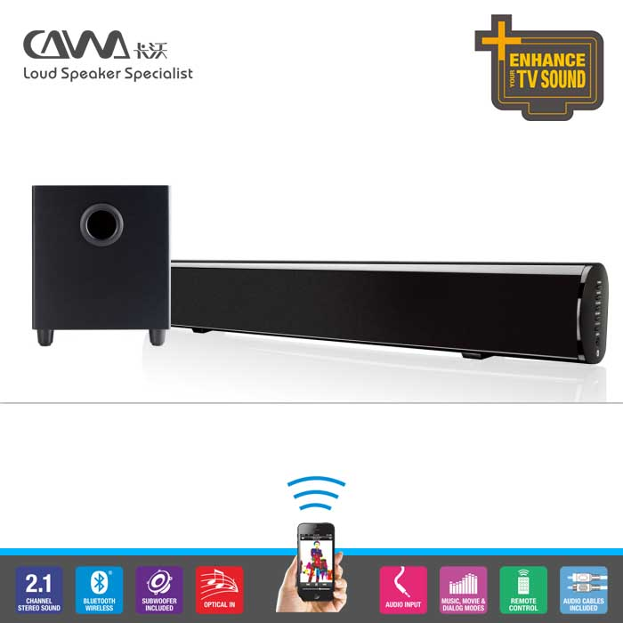 professional active bluetooth TV soundbar speaker with passive subwoofers