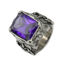 316L Stainless Steel Mens Ring Gothic Punk Purple Cut CZ Dragon Claw Engraved Fleur De Lis Axe