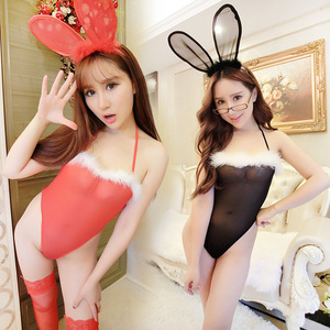 Hot Red Halter Open Back Bunny Girl Type Lace Womens Teddy Lingerie