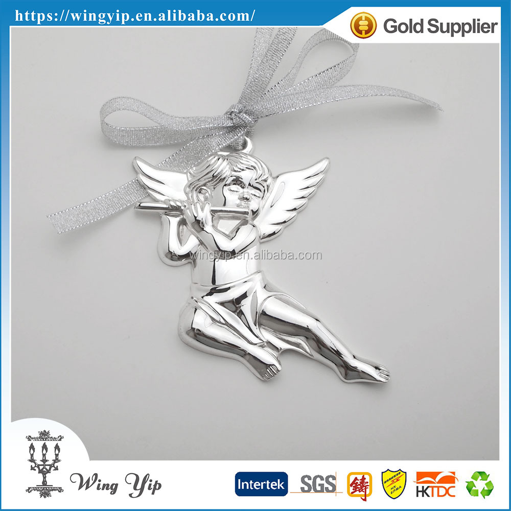 Manufacturer trendy Angel Shape with Ribbon Silver Plated Christmax hanging for decoration