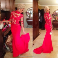 Elegant Vintage Lace Mermaid 2015 Evening Dresses Long Sleeves Red Appliques Lace Formal Evening Gowns Fashionable Party dresses