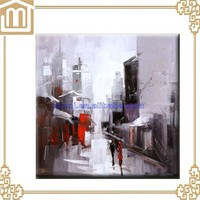 Handmade Paris two people on street abstract art knife oil painting