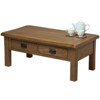 Solid Wood Coffee Table with 4 Drawers Living Room Furniture