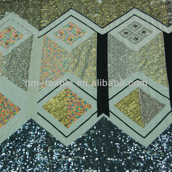 newest sequins beaded heavy embroidery lace fabric