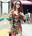 Women's floral deep V-neck Long Sleeve Sexy Slim Fit Over-hip Pattern mini evening Dress plus Sizes 9014