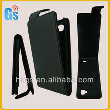 Black simply leather flip case for lg p880 cover