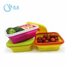 Wingenes Wholesale Microwave Safe Silicone Lunch Box/Collapsible Silicone Food Storage Container