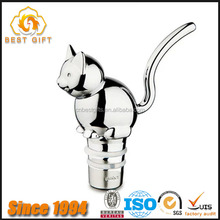 High Quality Custom Silver cat wine stopper