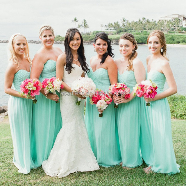 BD24 Elegant Girl Prom Dress for Maid of Honor Straplerss Mint Green Bridesmaid Dresses Long