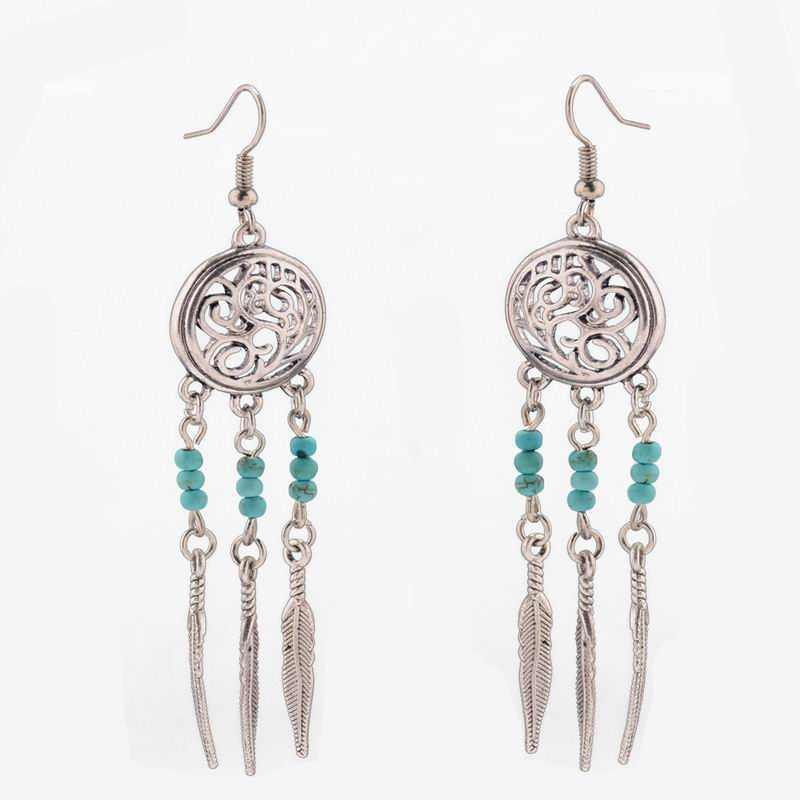 Bohemia Hollow Long Feather Dangle Earrings Leaves Dreamcatcher Turquoise Charms Statement Earring Women Handmade Boho Jewelry