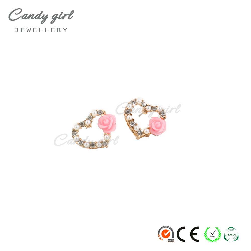 Candygirl brand woman heart shape pearl crystal earring rose pendant earring fashion earring stud