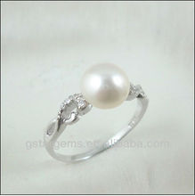 925 Silver Jewelry Fresh Water 10mm Pearl Ring Rhodium plated Cubic zirconia wholesale retail available