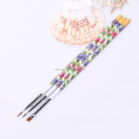 White Colored Printing Wood Handle Pure Kolinsky Hair Gel Brush For Nail tool For Cosmetics Product