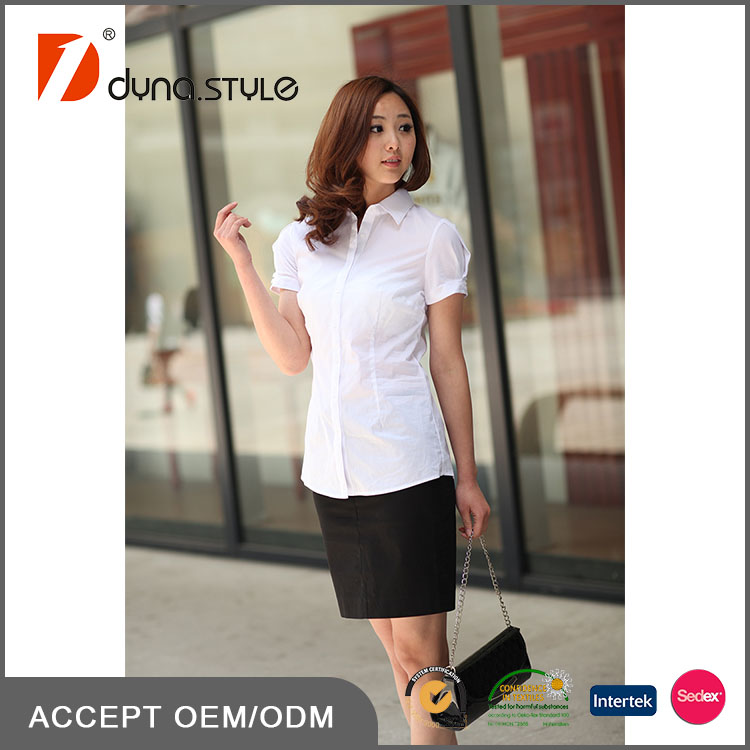 Custom Made High Quality White Color Cotton Spandex Office Lady Shirt Blouse Uniform