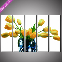 Home Goods Wall Art Modern Yellow Handmade Tulip Flower Oil Painting on Canvas