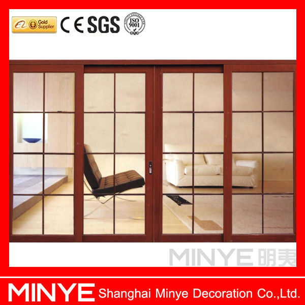 three low tracks aluminum veranda sliding door with fly screen /new design wooden door