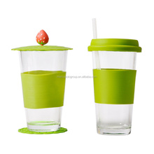 425ml tall and thin drinking glass cup with silicone cover and lid and straw