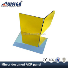 Alusign gold/silver mirror 3mm 4mm PVDF coated lightweight exterior aluminium composite panel plate