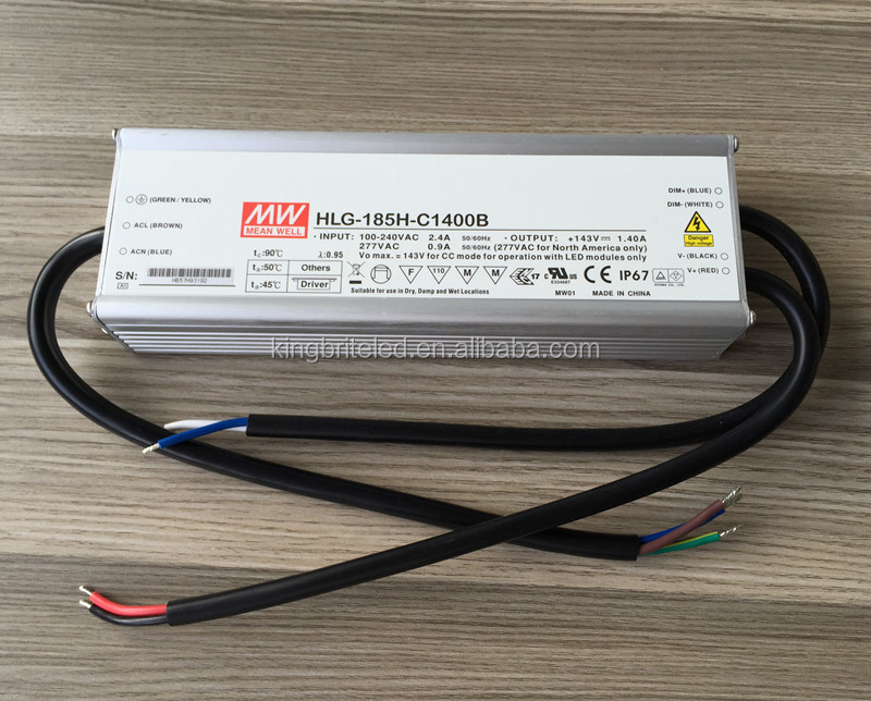 HLG-185H-C1400B, MEAN WELL led driver for Cree Cob leds