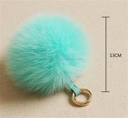 Hot sale decorative cheap personalized fur ball poms keychains fur pom keychain for bag charm