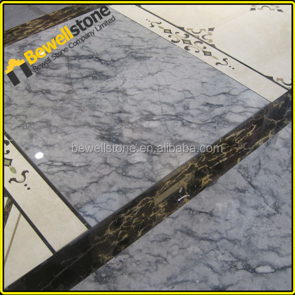 High-tech waterjet insert marble tiles flooring, 36x36 large size white grey marble tiles for shopping mall