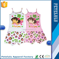 wholesale Cute Tank Top Girls Pajamas Sun-top Sleepwear Suit