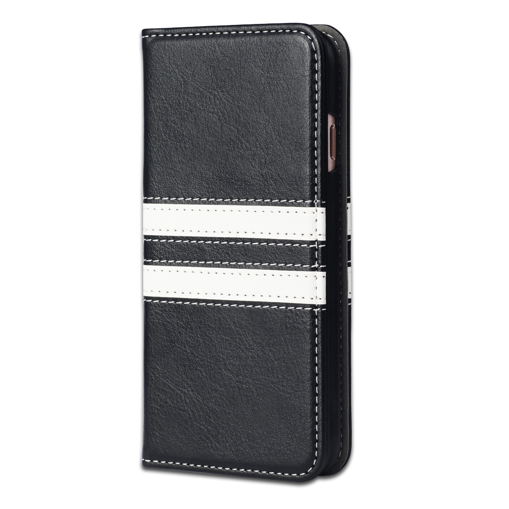 Black and White Patchwork PU Leather Case for iPhone 6/6s