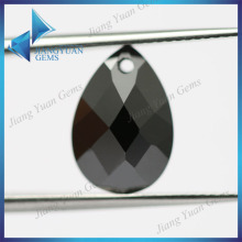 Wuzhou Pear cut Double Checker cut AAA Black Cubic Zirconia