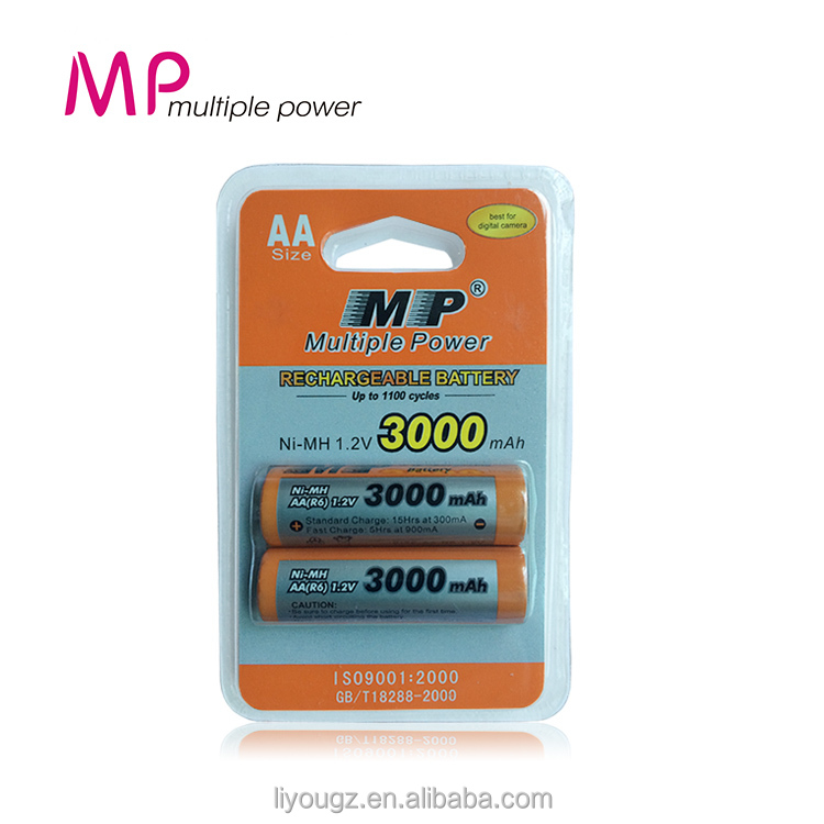China Factory Rechargeable Battery aa NI-MH 1.2v 3000mAh Battery Charger With High Quality