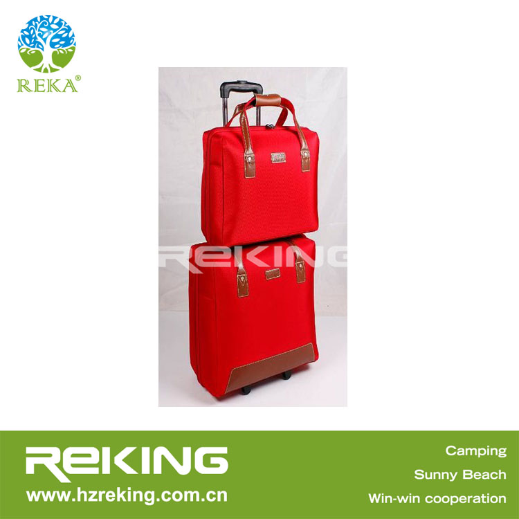 Red two sets 1680D PVC trolley duffle bags with wheels two sets