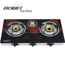 Kitchenware 3 burner gas stove glass top blue flame table cooker