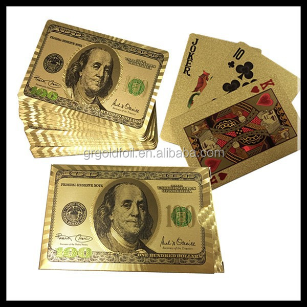24k gold wholesale PET US dollar playing cards plastic playing poker cards