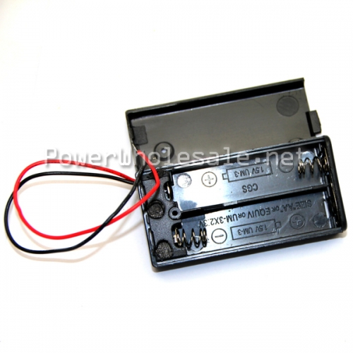 Black 2 Aa 2.3V Battery Holder With wire lead