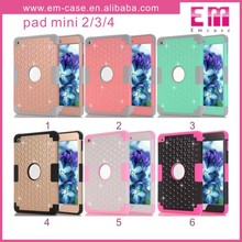 Full Diamonds 3in1 Shockproof PC Case For iPad Mini 2 3 4