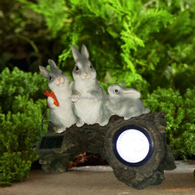 SCL0401 Easter Rabbit holiday gifts innovative style resin outdoor animal statues bunny light for home decoration light