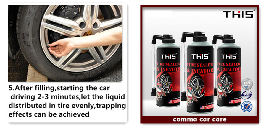 Tyre puncture repair liquid tyre sealant and Inflator