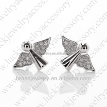 Fashion New Design Micro Zircon Paved Setting Bird Shaped Brass Stud Earrings