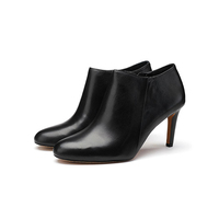 W026 Black Leather High Heel Women