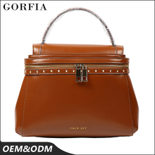 Guangzhou handbag market, Factory direct price custom-made brown color womens bags italian leather handbags
