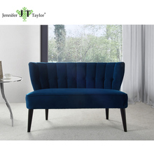 Furniture factory one piece MOQ curved back comfortable settee sofa, two seater bench sofa, velvet upholstery settee