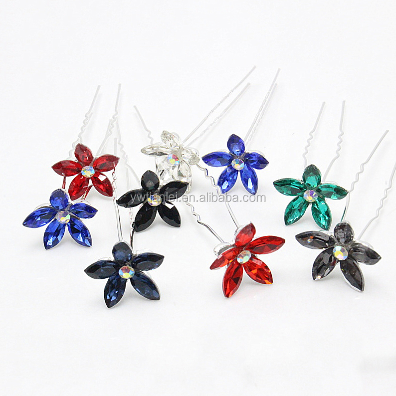 Fashion Decorated Color Zircon Flower Hairpin