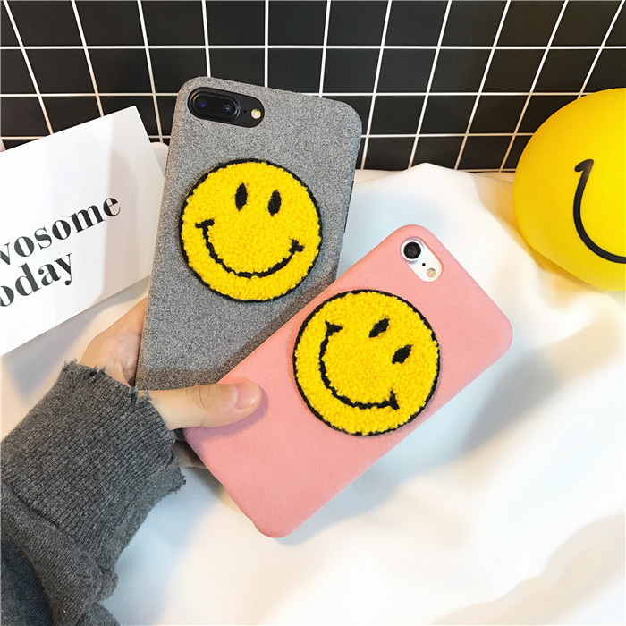 Hot sale simple plush lint cute 3D smile face phone case for iphone X 7 7plus Korean fashion lovely emoji cover for iphone 6 6s