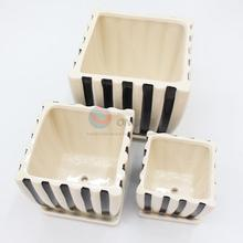 Modern 3 pcs white-black stripe square flower pot