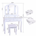 wooden dressing table designs with 3 folding mirror