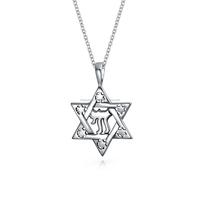 Fashion plain 925 sterling silver star of David chai pendant necklace