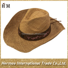 Man funny wide brim paper straw man australian cowboy hat with PU band