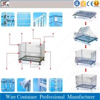 Collapsible storage steel wire mesh pallet container