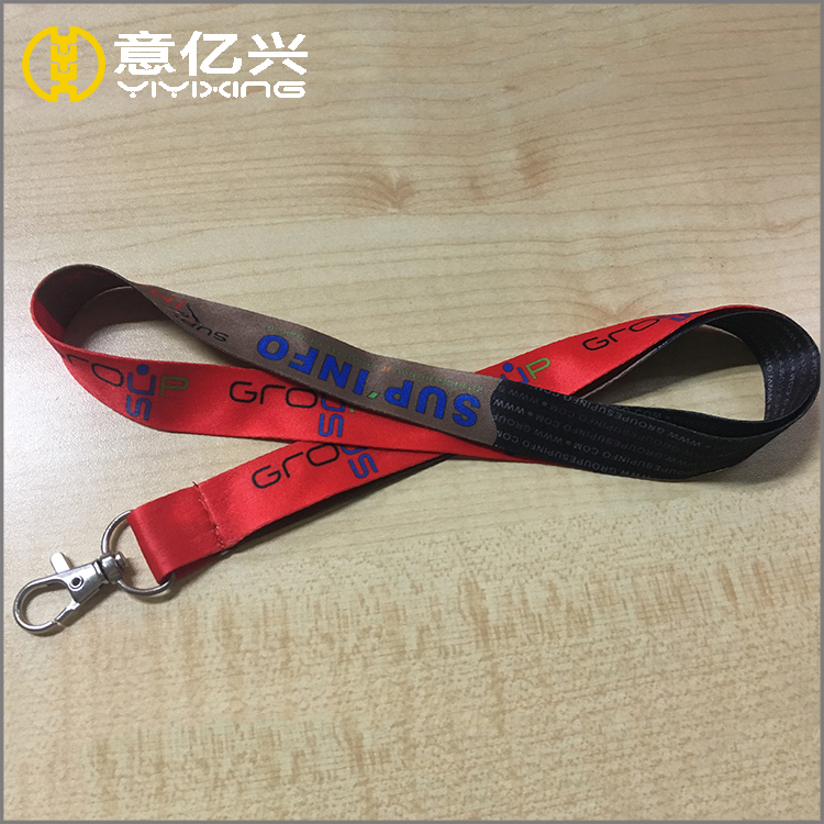 Factory direct sale personalized smooth nylon two clips lanyard with logo