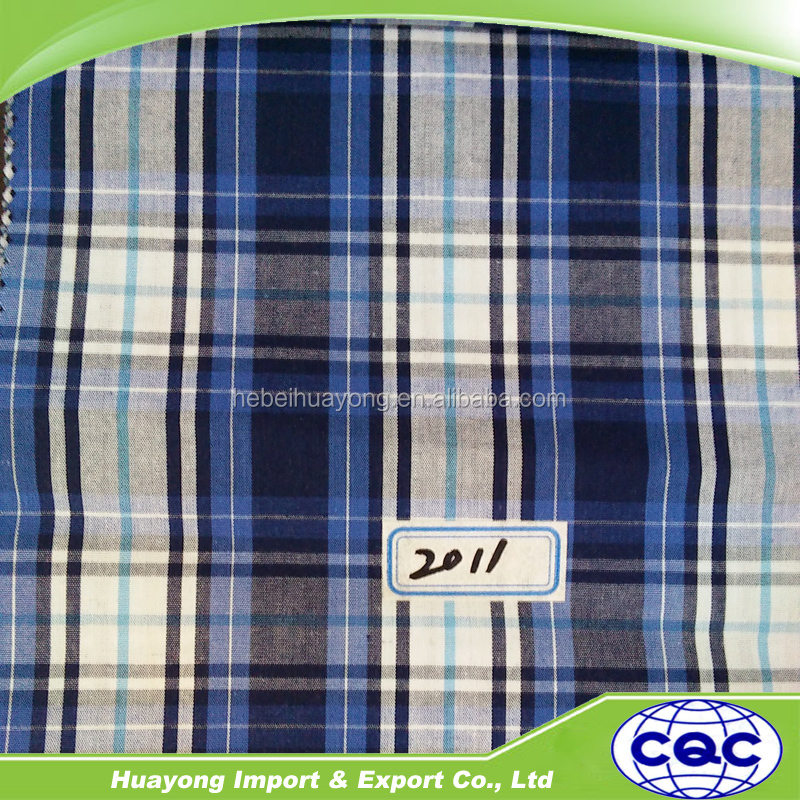 40s yarn dyed fabric plaid plain cotton fabric for men's shirt import fabric from china